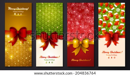 Christmas greeting cards. Vector illustration. Place for your text message. Design in classic Christmas colors. Holiday brochure design for corporate greeting cards. - stock vector