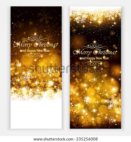 Christmas greeting cards with text and shadow - stock vector