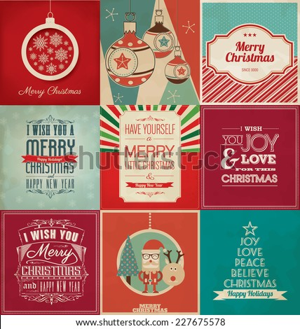 Christmas Greeting Design Collection - Good Value Set - Xmas Pack - Merry Christmas and Happy New Year - stock vector