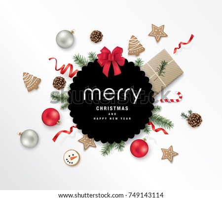 Christmas greeting design with gift box, ribbons, Christmas ornaments, cookies, candy cane, pine cones and fir branches
