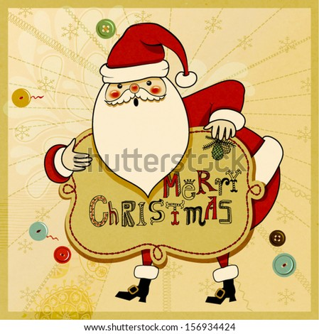 Christmas Greeting - Hand drawn illustration of cute Santa Clause wishing you a Merry Christmas, against neutral patchwork backdrop, with stitches and sewing buttons - stock vector