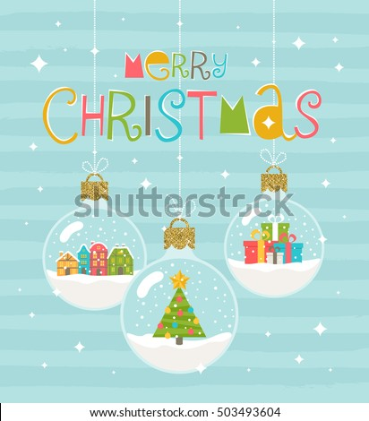 Christmas greeting illustration - three snow globe hanging baubles. Vector illustration.