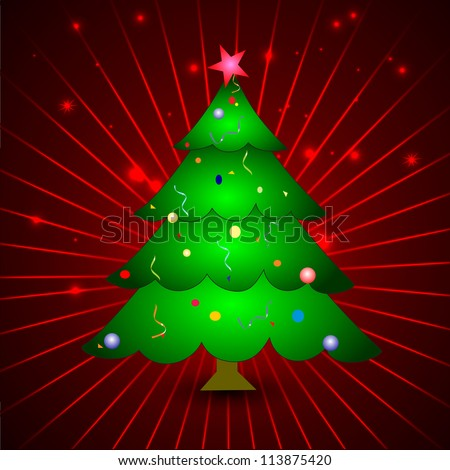 Christmas greeting or gift card with Xmas tree on red rays background. EPS 10. - stock vector
