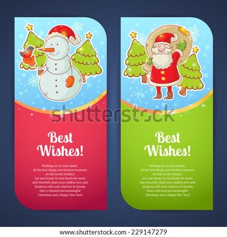Christmas greeting postcards snowman santa claus stock vector christmas greeting postcards with snowman and santa claus m4hsunfo