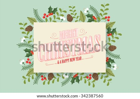 christmas greeting template vector/illustration - stock vector