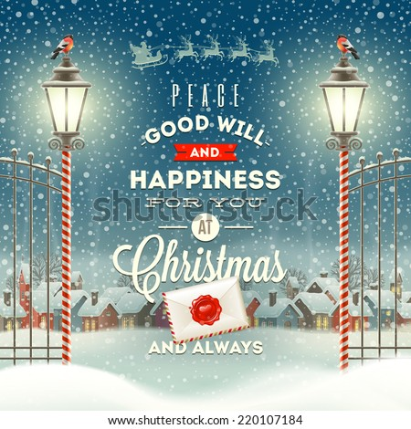 Christmas greeting type design with vintage street lantern against a evening rural winter landscape - holidays vector illustration - stock vector