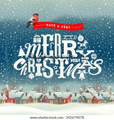 Christmas greeting type design with winter village scene - holidays vector illustration - stock vector