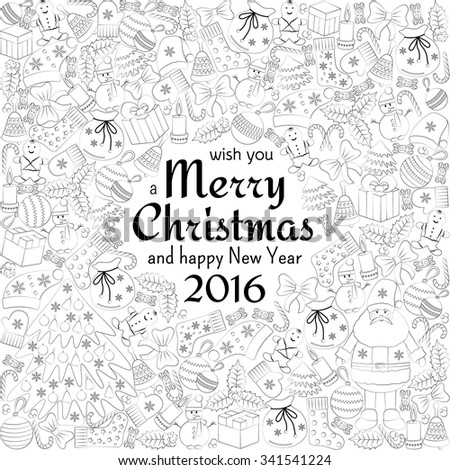 Christmas greeting white card with text wish you a Merry Christmas and many winter doodles. Santa, toys, cookies, snowmen, fir, candies, socks, gifts, bows, snowflakes, stars, hollies, mittens, etc. - stock vector