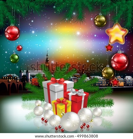 Christmas greeting with panorama of old city and gifts
