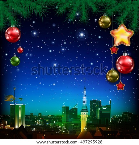 Christmas greeting with pine branch decorations and panorama of city
