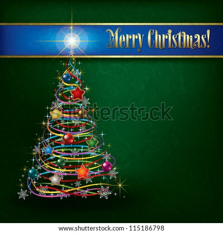 Christmas greeting with tree on green grunge background - stock vector