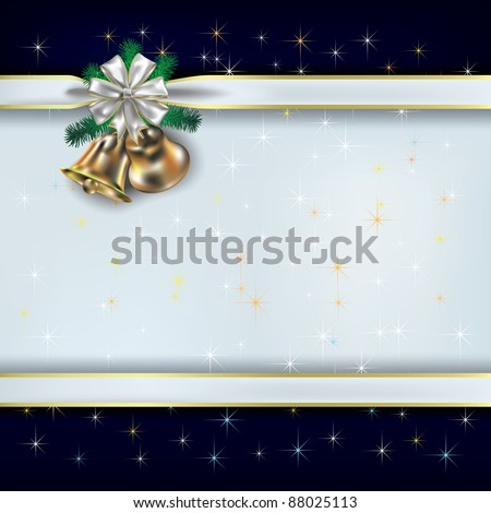 Christmas greeting with white gift ribbons and bells - stock vector