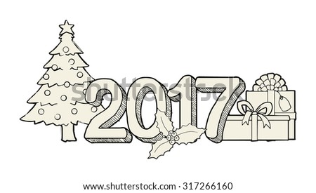 Christmas greeting, 2017 year with various objects, hand drawn, vector illustration