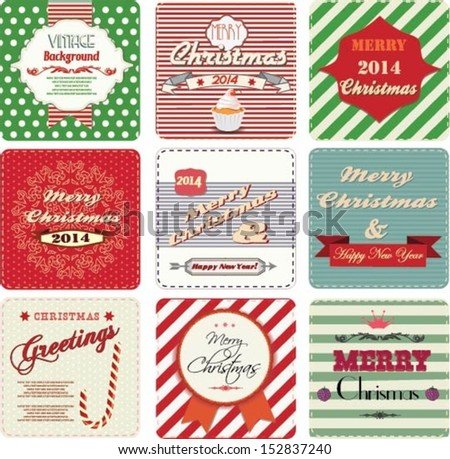 Christmas greetings cards, vintage labels - stock vector