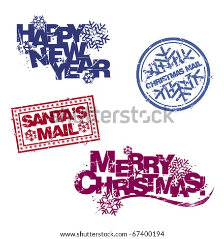 Christmas greetings in rubber stamp style. Vector set. - stock vector