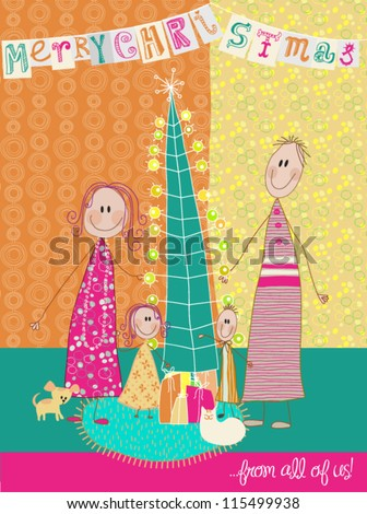 Christmas Greetings - Mom, dad and their two kids, along with a puppy and a cat wishing you a very Merry Christmas; Colorful doodle style holiday greeting, made to resemble children drawing - stock vector