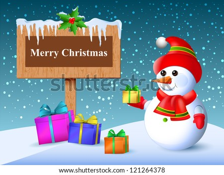 Christmas greetings. Wooden plaque with gifts. Falling snow and icicles. Snowman Surprise.Vector. - stock vector