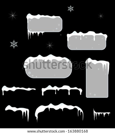 Christmas grey sale stickers and tags with icicles, stars and snowflakes on a black vector background.Snow top. - stock vector
