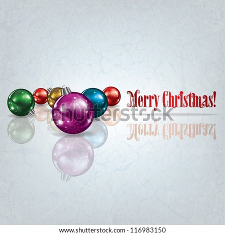 Christmas grunge background with decorations on white - stock vector