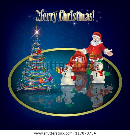Christmas grunge greeting with Santa Claus and snowmen - stock vector