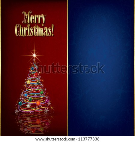 Christmas grunge greeting with tree and decorations on red - stock vector