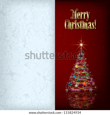 Christmas grunge greeting with tree and decorations on red background - stock vector