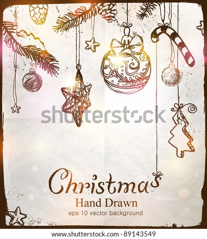 Christmas hand drawn background. Marry christmas!!!