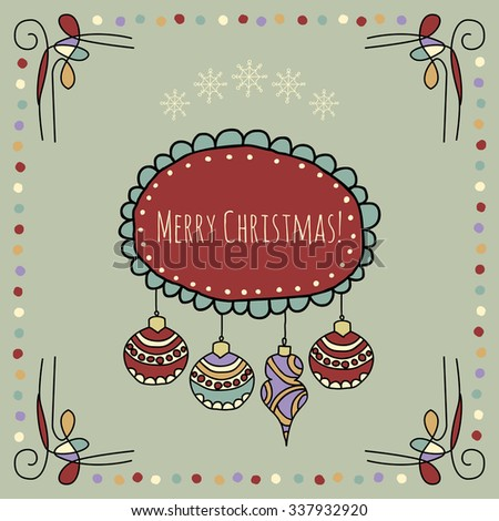 Christmas hand drawn background. Vector