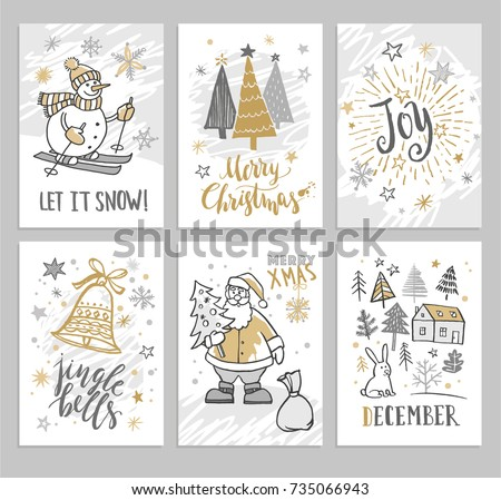 Christmas hand drawn cards with Christmas trees, snowman and snowflakes. Vector illustration.