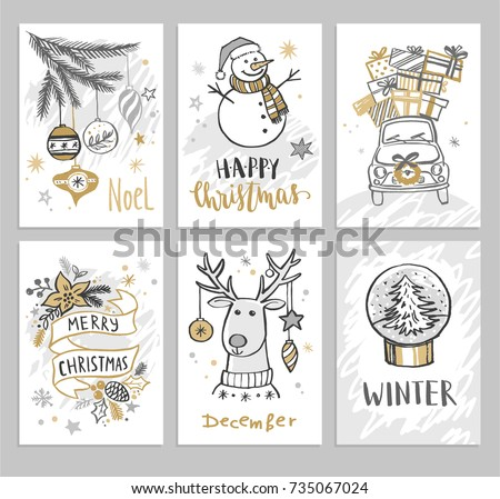 Christmas hand drawn cards with snowman, car, fir branch, balls and gifts. Vector illustration.