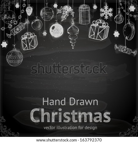 Christmas hand drawn Decorations for Xmas design. With balls, toys and fir-cone. - stock vector