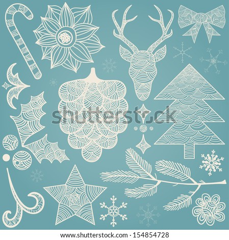 Christmas hand drawn decorations icons: deer Head, Holly berry, star, fir, flower, candy cane, bow.  - stock vector