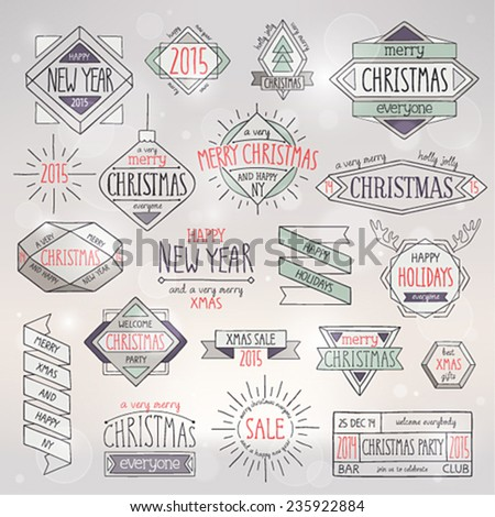 Christmas hand drawn emblems set. Vector illustration. - stock vector