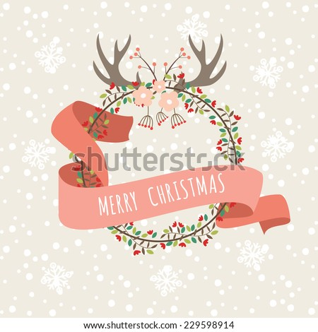 Christmas Hand Drawn Floral Vector Set. Design Elements, Decoration, Ribbons, Laurel, Labels, Wreath and Holidays symbols. - stock vector