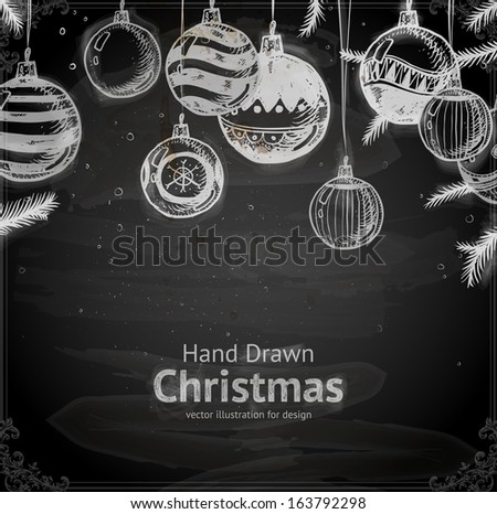 Christmas hand drawn fur tree for Xmas design. With balls, toys and fir-cone. - stock vector
