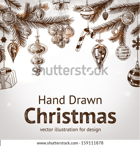 Christmas hand drawn fur tree for xmas design. With balls, toys and fir-cone. Holiday vector. - stock vector