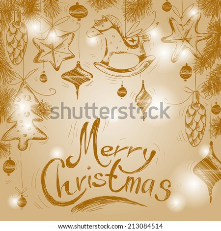 Christmas hand drawn fur tree for xmas design. With christmas toys and decorations.   - stock vector