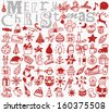 Christmas hand drawn icon's set  - stock