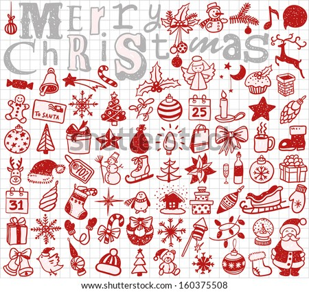 Christmas hand drawn icon's set  - stock vector