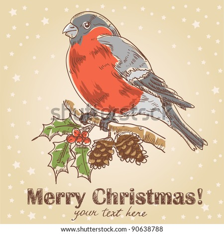 Christmas hand drawn ink card with bullfinch  with red breast sitting on a tree with holly berries and fir cones - stock vector