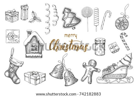 Christmas hand drawn objects Set. Doodle gingerbread, lollipops, gifts, bells, serpentine, Santa's sleigh, sock isolated on white. Sketch. Hand drawn lettering. Merry Christmas and Happy New Year.