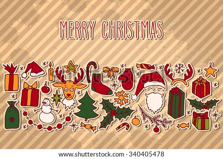Christmas hand drawn paper doodle card with hand written greetings over vintage brown striped background. Santa, Christmas tree, reindeer, snowman, snowflakes, gifts, decorations, holly, stars. - stock vector