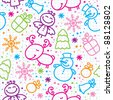 christmas hand drawn seamless pattern with cute characters - stock photo