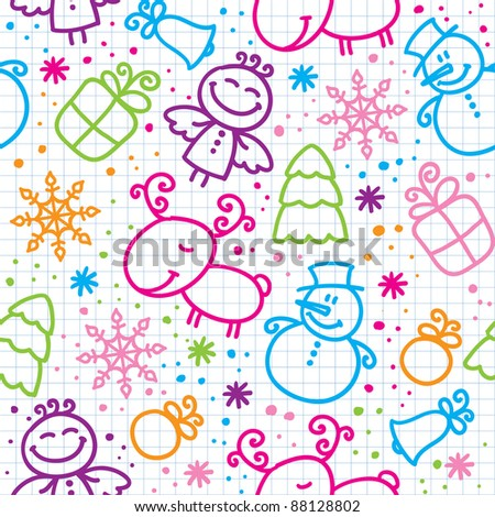 christmas hand drawn seamless pattern with cute characters - stock vector