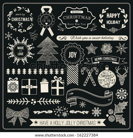 Christmas Hand Drawn Vector Set: Design Elements and Page Decoration, Vintage Ribbon, Laurel, Label.  - stock vector
