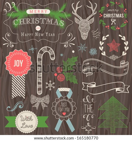 Christmas Hand Drawn Vector Set: Design Elements and Page Decoration, Vintage Ribbon, Laurel, Label on wooden background. - stock vector
