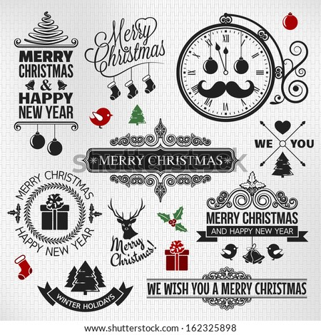Christmas happy new year vintage ornate labels set - stock vector