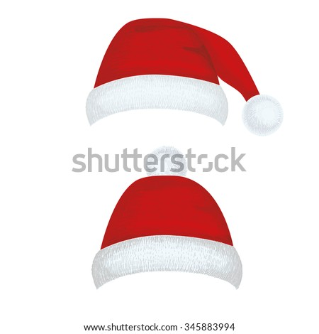 Christmas hat for your design. New Year hat set. Vector illustration isolated on white background.