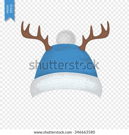 Christmas hat with deer horns for your design. New Year hat. Vector illustration of winter hat isolated on transparent background. Blue hat or cap. - stock vector