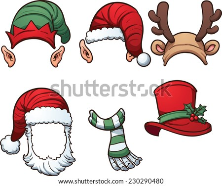 Christmas hats and scarf. Vector clip art illustration with simple gradients. Each on a separate layer. - stock vector